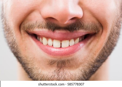 Close up image of perfect male teeth.