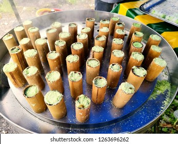 Close up image of putu bambu, Malaysian traditional food.