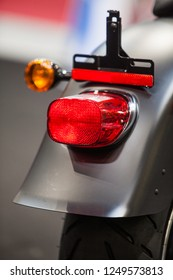 Close up image of the rear fender of a modern motorcycle.
