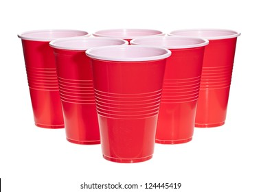 Red beer pong plastic cups ball stock vektorgrafik lizenzfrei