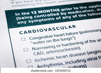 Close up image, selective focus on cardiovascular, heart disease content on health insurance questionnaire and application form. Healthcare, insurance policy, personal safety plan, business concepts.