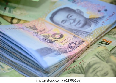 Close up image showing stack of thailand fifty