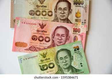 Close up image of Thai baht currency banknotes