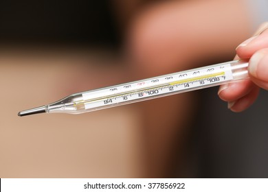 Close Up Image Of Thermometer Showing High Temperature
