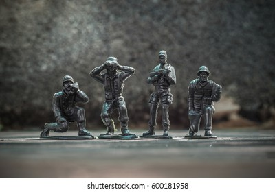 Close up image of  toy military at war..
