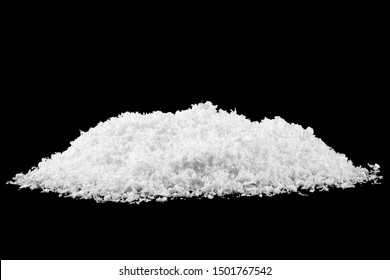 Close up image of white snow on black background. Snowflakes on a black background.
