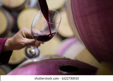 Close up image of a wine sample being collected by a wine maker in a cellar with old oak wine barrels
