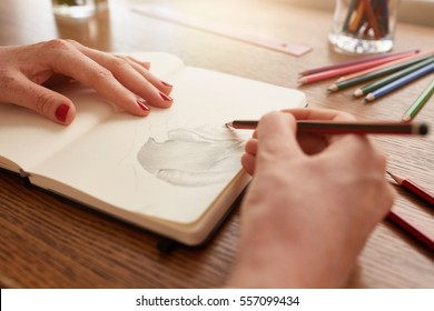Close up image of woman hands sketching flower on sketchbook at home.