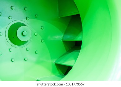 close up impeller or propeller of large industrial centrifugal blower