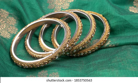 Close up indian bangles.Indian traditional jewellery. - Shutterstock ID 1853750563