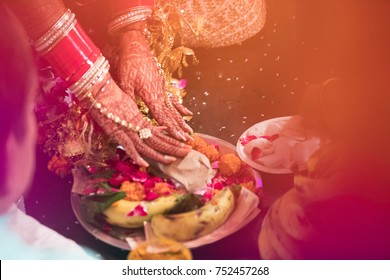close up of indian bride hands during wedding