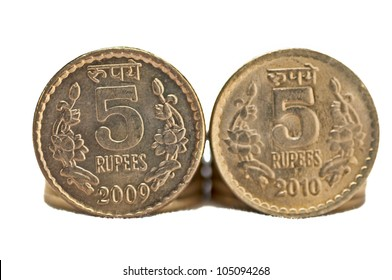 Close up of Indian Currency Coin, 5 rupees, isolated on white background, copy space,