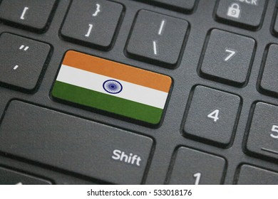 Close up of Indian flag button on computer keyboard