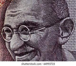 Close up of Indian Rupee- Smiling Gandhi