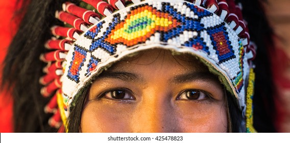 close up of Indian woman hunter.Native American