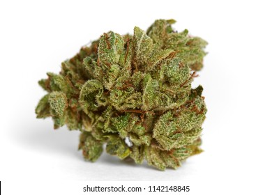 Close up of indica prescription and recreational medical marijuana flower bud isolated on white background