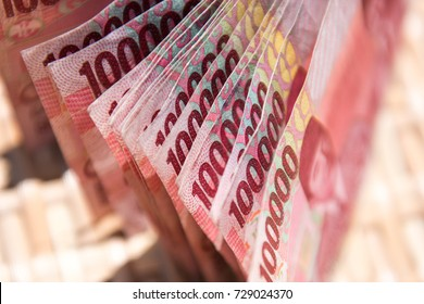 Close up of Indonesian money, 100,000 IDR banknotes