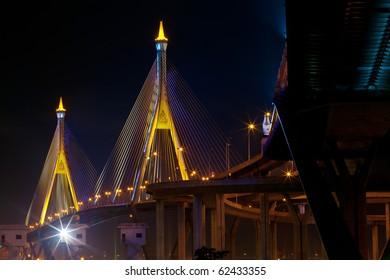 Close up of industrial/ bhumiphol ring bridge in bangkok