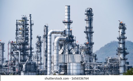 Close up industrial view,A equipment of oil refining,Oil and gas refinery area.