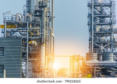 Close up Industrial zone. Plant oil and gas refinery industry. Petrochemical factory  area concept.
