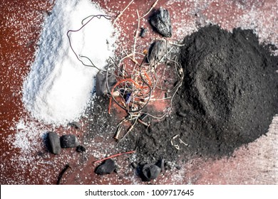 Close of ingredient or mixture of Earthing system or Grounding system i.e Coal,coal powder,salt,sodium chloride,and wires.