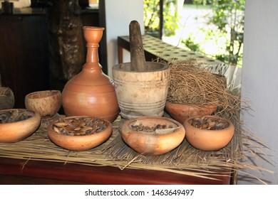 Close up of ingredients of ayurvedic treatment, Sri Lanka