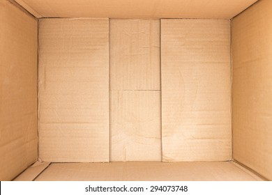 Close up inside of brown cardboard box background and texture
