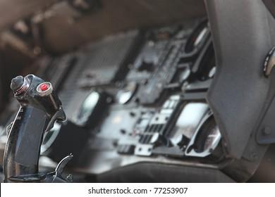 Close Up Of Inside Fighter Jet Cockpit