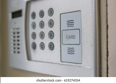 Close up of intercom in the entry of a house