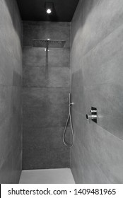 close up of interior of a masonry shower cubicle