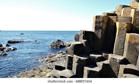 Close up of the interlocking basalt columns at the Giant's Causeway in County Antrim in Northern Ireland, UK