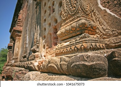 Close up of the intricate exterior of an ancient building in Bagan, Burma
