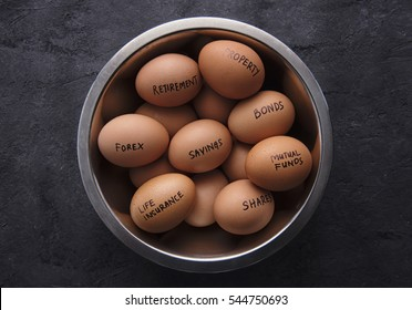 close up investment concept-Put all eggs in one bowl