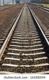 Close up of iron line of railway  track