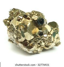 A close up of iron pyrite mineral isolated on white background.