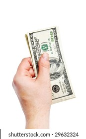 close up isolated hand with money
