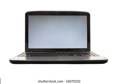 close up of isolated laptop with empty screen