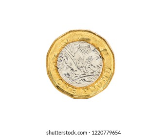 Close up isolated of one pound coin from united kingdom on white background with clipping path.