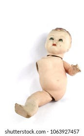 Close Up and Isolated Vintage Antique Old Doll