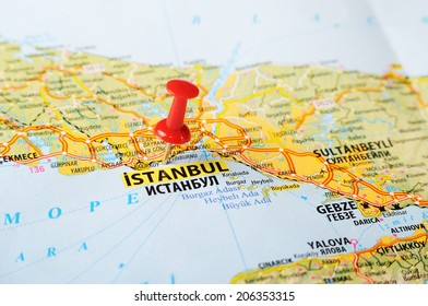 Close up of  Istanbul ,Turkey  map with red pin    - Travel concept