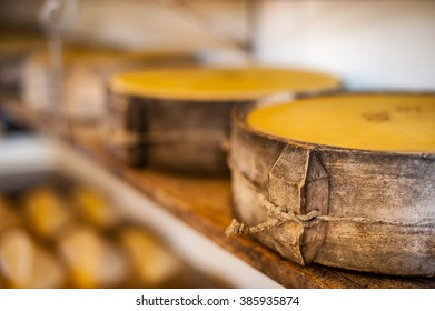 Close up of italian Asiago cheese hand made in malga alps