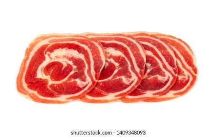 close up of italian pancetta bacon isolated