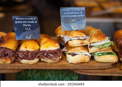 Close up of Italian sandwiches in the shop