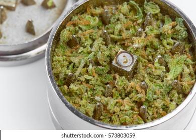 Close up of Jack Herrer medical marijuana bud in grinder