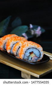 Close up Japanese food sushi roll with fish eggs