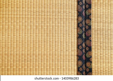 Close up japanese traditional tatami with beautiful generic pattern on the side.