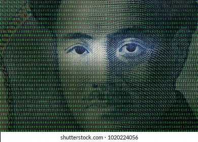 close up of japanese yen banknote among binary code background,cryptocurrency concept.