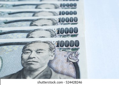 Close up Japanese Yen on white background