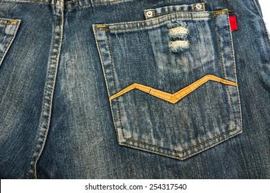 Close up jeans pocket back side of pant, texture denim