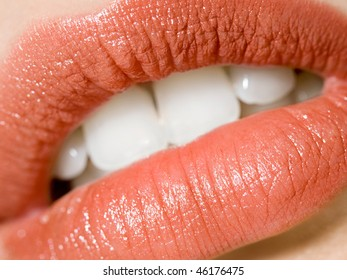Close up juicy lips with lipstick